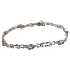 9Ct White Gold Tanzanite & Diamond Bracelet