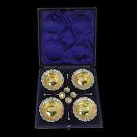 A Late Victorian Cased Four Piece Silver-Gilt Salt Set c1898/9