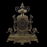 Gilded Brass Late Victorian Fireplace Clock