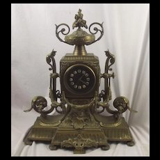 Gilded Bronze Late Victorian Fireplace Clock