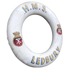 Hand Decorated British Royal Navy Life Ring HMS Ledbury