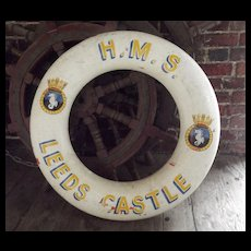 Hand Decorated British Royal Navy Life Ring HMS Leeds Castle