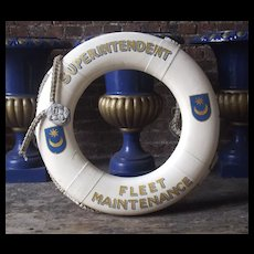 Hand Decorated Life Ring Royal Naval Dockyards - Portsmouth