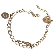 9Ct Gold Charm Bracelet With Three Charms, 8 Inches