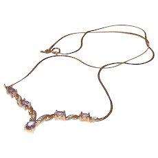 9 Ct Gold 1.6 CTW Amethyst & Diamond Pendant Necklace