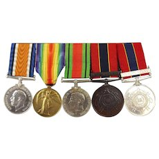 Set of 5 WW1 & WW2 British Fireman's Medals