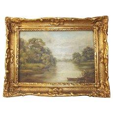 Victorian Framed Pastoral Landscape Oil Painting
