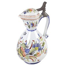 French Tin-Glaze Polychrome Pitcher With Pewter Cover