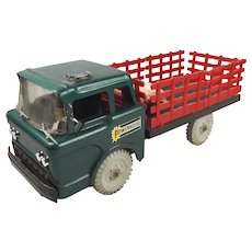 Louis Marx Pressed Steel Livestock Lorry And 3 Pigs