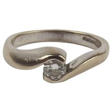 18Ct White Gold 0.15CTW Diamond Solitaire Ring UK Size I+ US 4 ½