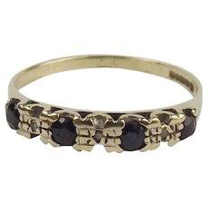 9ct Yellow Gold Sapphire & Diamond Ring UK Size N US 6 ½