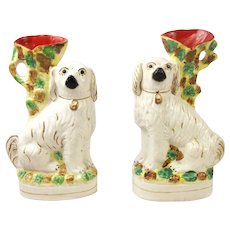 Pair Of Staffordshire Spaniel Dog Spill Vases