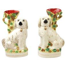 Pair Of Staffordshire Spaniel Dog Spill Vases