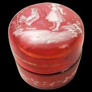 Mary Gregory Style 19th Century Enamelled Jar With Glass Lid