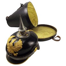 Cased M1891 WW1 Issue Imperial German Prussian Officers Pickelhaube