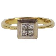 18Ct Yellow Gold Diamond Ring UK Size N+ US 6 ¾
