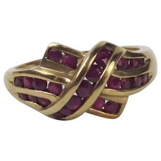 9Ct Yellow Gold Ruby Cluster Ring UK Size P+ US 7 ¾