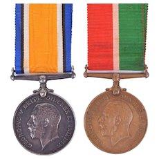 Set Of WW1 Medals – British War Medal & George V Mercantile Medal William Davies