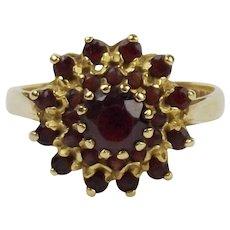 18ct Yellow Gold Garnet Flower Head Cluster Ring UK Size Q US 8