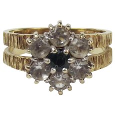 9ct Yellow Gold Emerald & Quartz Flower Head Ring UK Size O US 7