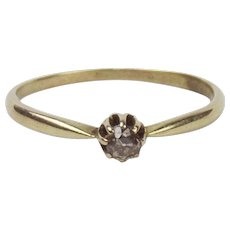 14ct Yellow Gold Diamond Solitaire Ring UK Size N+ US 6 ¾