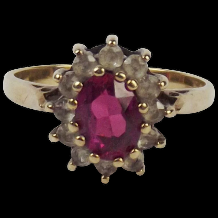 596a75105 9ct Yellow Gold Ruby & Topaz Flower Head Ring UK Size M US 6 : The Antiques  Storehouse | Ruby Lane