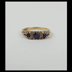 9ct Yellow Gold Sapphire & Aquamarine Ring UK Size T US 9 ½