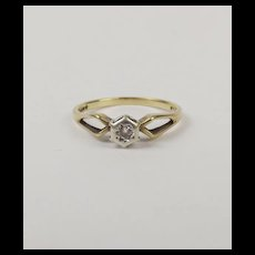 9ct Yellow Gold Diamond Solitaire Ring UK Size R+ US 8 ¾