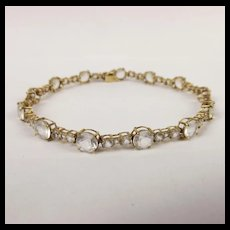 9ct Gold Bracelet With White Sapphires