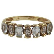 9ct Yellow Gold Topaz & Diamond Ring UK Size L+ US 6