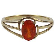 9ct Yellow Gold Orange Glass Ring UK Size N+ US 6 ¾