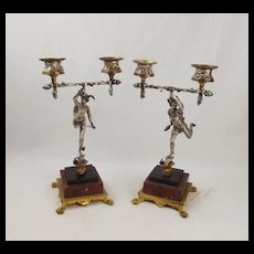 19th C. Pair Of Silvered Brass & Marble Greek God Figure Candleabra