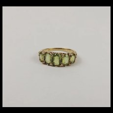 9Ct Yellow Gold Five Stone Green Citrine Ring UK Size O+ US 7 ¼