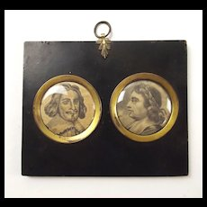 17th C. Framed Double Portrait Of English Civil War Leaders, Fairfax & Cromwell