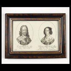 Framed Twin Portrait Charles I & Henrietta Maria – Copy of 17thC George Glover