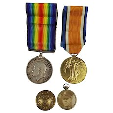 WW1 Medal Pair Awarded To 23056 W.E. Holden. Hamps. Reg. Plus Personal Effects