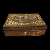 French Prisoner Of War Straw Work Decorated Writing Box c1810