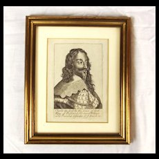 Framed Antique Etching Of Charles I (Artist Unknown)