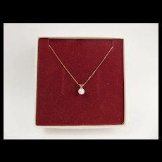 9ct Yellow Gold Pearl Pendant Necklace 16 Inches