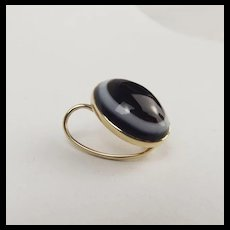 9ct Yellow Gold & Agate Scarf Ring