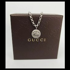 Gucci Sterling Silver Pendant Necklace With Box