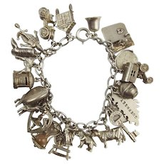 Vintage Silver Charm Bracelet With 24 Charms