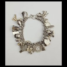 Vintage Silver Charm Bracelet With 30 Charms