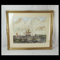 Portsmouth Harbour Maritime Watercolour By Thomas Sewell Robins