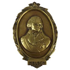 Early 19th Century Brass Plaque Of Lord Nelson