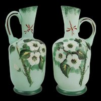 Pair Of Late Victorian Hand Painted Vaseline Glass Vases