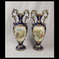 Pair Of Late Victorian Rococo Style European Vases