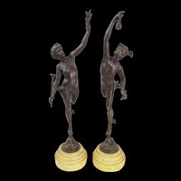 Pair Of Bronze Statues Depicting Greek Gods Hermes & Nike