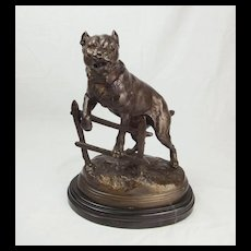 Victorian Bronze Staffordshire Bull Terrier Dog By Charles Valton
