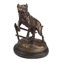 Victorian Bronze Staffordshire Bull Terrier Dog By Charles Valton
